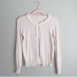 J. Crew Sweetheart Pink Ruffle Sweater